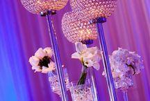 Wedding menu & table centerpieces