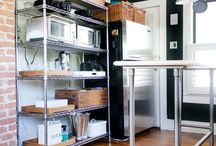 Kitchen Storage and Organization / Make it easy to store all your kitchen appliances and utensils, even in small spaces, with wire shelving, carts, or even bin storage.
