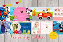Kids Birthday invitations / It's that time of year again when your child wants to have a party and invite all their friends to celebrate their birthday.  Happy Little Sunshine Designs range of Birthday Invitations and can be personalised with the party's details and each design can come with or without their photo/s.