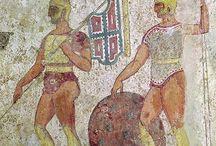 Alt italisch / Statuen, Mosaiken und andere Darstellungen über die Osker, Umbrier und Griechen in Italien