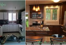 Renovation Kitchen / Natalie optimized each inch of this living space. Beautiful maple shaker doors, funky and functional island and the accessories!! Love this reno!