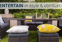 Outdoor Sofa Sets / Many feature the clever new dual purpose lounging and dining trend – comfy sofas and chairs for laidback lounging combined with a dining height table, so you can easily switch between relaxing. It's a great solution when space is limited.