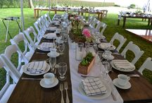 Ellen and Victor's Backyard Wedding / located in beautiful Warwick, RI   Linens, Decor, Rentals, and  Food by Pranzi Catering and Events