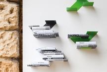 FIN, modular shelf / A painted steel modular shelf FIN, accomodates books in an innovative way..transforming them into furnishing objects..