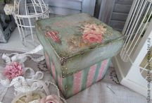 Decoupaged & painted  boxes