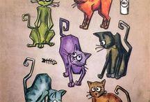 kočky a jiná zvířátka kreslená