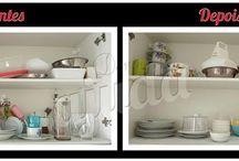 Antes e Depois - Cozinha / Veja aqui os resultados da organização de cozinhas dos clientes.  Chame a gente para deixar a sua assim também!
