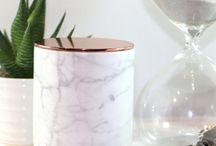 Rose Gold + Marble / Decor trends come and go, but there are few that have us as weak in the knees as the latest rose gold + marble combination that's totally blowing up this spring. This two-in-one trend combines elements of minimalist AND glam style to create a clean look that transcends categories. While too much of one or the other could read as over-the-top, you can easily incorporate this combo into your kitchen storage, lighting or accent furniture for bit of modern pizzazz! Are you loving this decor trend?