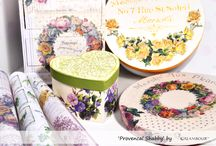 OBJECTS DECORATED WITH CALAMBOUR #PROVENCAL #SHABBY PAPER / NEW COLLECTION  The new Calambour® Spring/Summer collection 2015  is inspired by #Provencal style:  floral designs are combined with pastel colors to give to your creations a chic and #romantic taste. Among the subjects you can find the herbs and the perfumes, typical elements of this area of France.