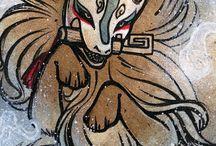 Art foxes kitsune