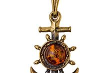 Amber and Brass Pendants / Pendants made from original Baltic Amber and Brass