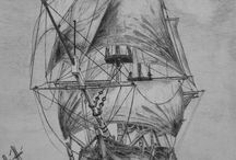 Old ship drawings