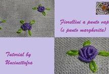 fiorellini a punto vapore  e punto margherita (foto e video-tutorial) / video tutorial di ricamo dove spiego come realizzare dei fiorellini a punto vapore e punto margherita