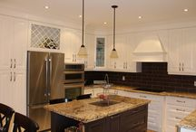White Custom Kitchen / White Custom Kitchen Cabinets with Granite Countertop by Millo Kitchens and Baths