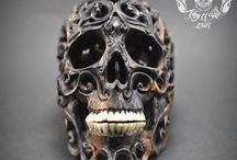 Skull Filigree Tribal Style from Arang Wood Great Home Decor #THB3 / Find this Skull on Etsy