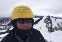 Dane and the ski team / Custom helmet covers to Dane