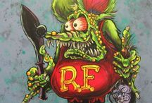 """Rat Fink / Rat Fink is one of the several hot rod characters created by artist Ed """"Big Daddy"""" Roth, one of the originators of Kustom Kulture of automobile enthusiasts. Roth conceived Rat Fink as an anti-hero answer to Mickey Mouse. Rat Fink is usually portrayed as either green or gray; comically grotesque and depraved-looking with bulging, bloodshot eyes, an oversized mouth with sharp, narrow teeth, and wearing red overalls with the initials """"R.F."""" on them. He is often seen driving cars or motorcycles"""