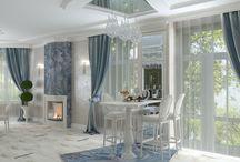 Дизайн интерьера современного дома в стиле неоклассика / Пожелания заказчика: создать современный дизайн интерьера с классическими нотками неоклассики и активным использованием бирюзового цвета.