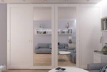 Quarto range / Range of wardrobes with spray painted sliding doors and profitless sliding system.