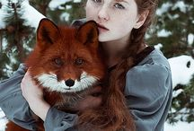 girl and foxes