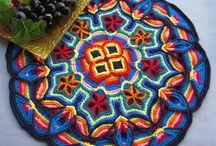 Crochet - coasters, mandala / colorful and beautiful....