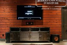 Man Cave with Modern Industrial Furniture / Man cave showcasing our Modern Industrial Furniture.