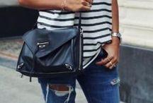 Navy stripes t-shirt looks