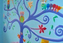 Muurschildering kinderkamer / Muurschilderingen voor kinderen. Voor de kinderkamer, babykamer, school, schoolplein, crèche. Kunst. Mural. Wall art kids. Pluk van de Petteflat, Jip & Janneke