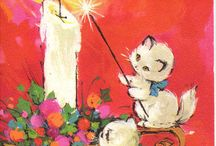 vintage christmas card kittens candle