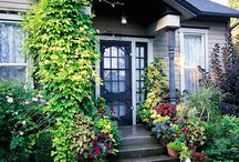 Exterior Entry accents / Front door inspiration, blue entry door, green entry door, orange entry door, yellow entry door, colored entry door, exterior design inspiration, front door lighting, front door greenery, entry door inspiration