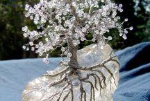 Szerencsefa, drótfa, növények gyöngyből