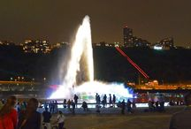 Point State Park - Pittsburgh Pennsylvania / A symbol of its city's connection to the rivers, the Point State Park Fountain in Pittsburgh has been updated as part of a 40 million dollar revitalization effort. The fountain has been restored and enhanced to include a raised fountain base, a cascade waterfall, and over 300 of Crystal's color-changing LED lights. The central burst jet can shoot water 200 feet in the air, making a dramatic impression upon visitors to Pittsburgh's riverfront. / by Crystal Fountains