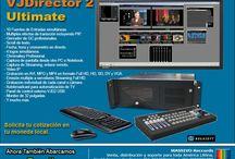 VJDirector 2 / VJDirector (el software de producción Vivo)  Es una estación de trabajo, basado do en Windows,  para la edición de multimedia, grabación y emisión. Soporta AV, SD, HD, Full HD,  Streaming.