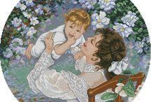 Schema punto croce madre e figlio