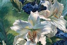 Schilderstuk / Lelie bloem
