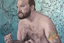 """Collection : """"Poils et Strass"""" / Hairy Men portraits with jewels Oil + Acrylic"""