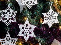 Fiocchi di neve / decorazioni natalizie all'uncinetto