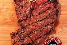 Dry Aged T-Bone Steak / Our incredible dry aged beef packages feature our T-Bone steak along with succulent dry aged roasts and more. Visit us at www.flatwaterbeef.com.