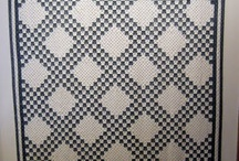 quilts: blue and white