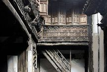 Ancient Chinese house interior courtyard
