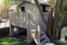 Steigerhouten speelhuis / Foto impressie steigerhouten speelhuis