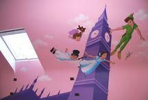 Muurschilderingen met bekende Disney figuren / Wandschilderingen met bekende Disney figuren in kinderkamers