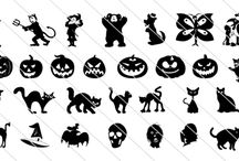 Vector Drawings Icons / Enjoy a huge collection of fun Halloween icons and symbols. Some of the elements included in this Halloween set are bats, witch, ghost, spider, tree, cat, pumpkin and tombstone.