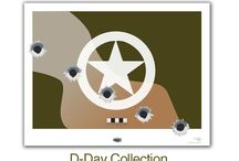 """D-Day Collection / D-Day Collection  Each one of the bullet holes represents a landing beach, Utah, Omaha, (USA) Juno (Canadian) Gold, and Sword (British). All Giclée products printed to Museum Quality Standards and on archival paper (acid free). Ready for framing or plaque mounting.  MAKES A GREAT FATHER'S DAY GIFT.  $75.00 plus shipping Size 22"""" x 17""""  www.jdsonline.com/salute"""