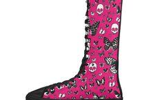 Canvas Long Boots, Fun Fashion for Girls / Looking to dress up those feet? These canvas long boots are perfect for adding some fun to your outfit  fun fashion for girls, cool shoes, dress up fashion, look good at festivals, fun run, canvas shoes for girls