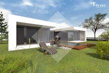 Bungalow moderne Architektur / Moderner Bungalow in Bauhaus Architektur. 1-geschossige Bauweise für barrierefreies Wohnen auf einer Ebene. Stilvolles Design in verschiedenen Dachformen und intelligent konzipierte Grundrisse.