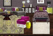 Bedroom; violet / green