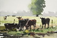 cow watercolor
