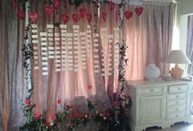 Tableau mariage with hearts / tableau de mariage with wooden hearts and tulips