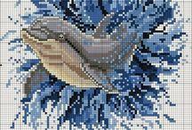 Dolphins cross stitch